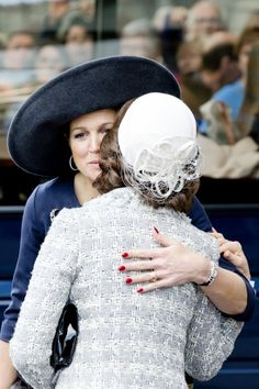 Queen Máxima and Queen Silvia, April 5, 2014 both in Fabienne Delvigne | The Royal Hats Blog