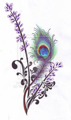 Peacock Feather and Lavender by NatRadzi.deviantart.com