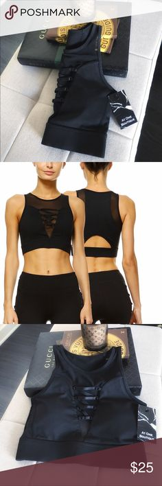 """Lace Up Criss-Cross X Mesh Workout Sports Bra Top This workout bra / sports bra top is 5 ⭐️ rated every size! Photos do this no justice. Very high quality.   This luxe piece features lace-up + criss-cross details. Removable cups with a chic cut-out in back.   88% Polyester & 12% Spandex.  Approx.  flat armpit to armpit: S: 13"""".     M: •SOLD OUT•      L: 15"""".   w/ iPhone 7+. Vendor photo shows fit. Intimates & Sleepwear Bras"""