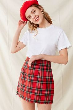 Slide View: 1: Vintage Plaid A-Line Skirt