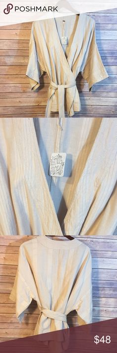 """NWT!! Free People Kimono Style Wrap Jacket Kimono style wrap jacket with sash (and tassels too!). Made of 89% cotton and 11% Linen. Measures 24"""" chest (laying flat) and 29"""" length. Free People Jackets & Coats"""