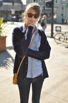 cardigan sweater, denim workshirt, jeans