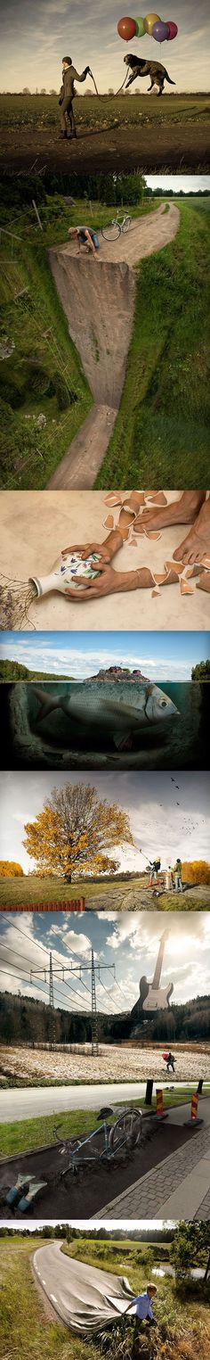 Erik Jahoansson I absolutely love this! Especially, the road up the wall! Penny Erik Johansson Photography, Photo Montage, Art Photographers, Creative Photos, Surrealism Photography, Photo Artistique, Creativity, Surreal Art, Photo Manipulation