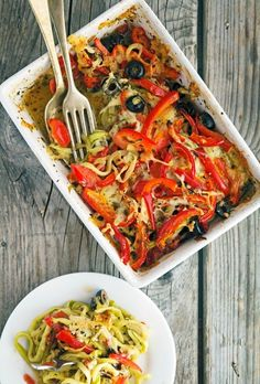 Sun Dried Tomato and Red Bell Pepper Zoodle Bake