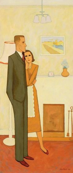 "An image of ""The new house"" by John Brack,1953. This is an ambiguous, ironic portrait of aspirational Australia in the Menzies era"