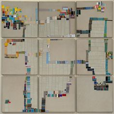 Laurie Frick - Walking Week 44 - Handmade paper and found cut paper on Alumalite panels, x 2011 Textiles, Map Quilt, Different Kinds Of Art, Fibre And Fabric, Data Visualization, Quilting Designs, Textile Art, Illustration Art, Doodle