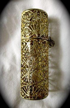 Vintage 1950s Gold Filigree Lipstick Case Tube Very Ornate. $10.00, via Etsy.