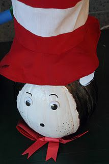 The cat in the hat - character pumpkins!