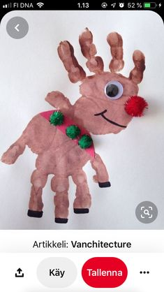 Christmas Handprint Crafts, Christmas Crafts For Kids, Christmas Activities, Christmas Fun, Christmas Wreaths, Christmas Ornaments, Rudolph The Red, Red Nosed Reindeer, Dinosaur Stuffed Animal