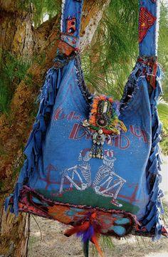DEADHEAD TOUR tee-shirt bag--Boho, Hippie, Rocker, Hobo,Travel --CUSTOM Order only on Etsy, $250.00