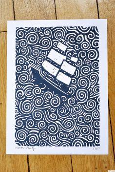 Navire Impression originale et numéroté de linogravure par Yamok / Marion Marty