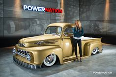 This 1952 F-1 was built as a tribute project to owner Donnie McMahan's dad. It has air assist suspension and was refreshed with a 351 Windsor that's paired to a four speed automatic. The front end is from a '48 Plymouth with inverted factory girl teeth and '56 olds headlights. See the video here: http://www.youtube.com/watch?v=gmpSjchUHas&list=UUQxdMMwjFXLcPQ65M-8MByg