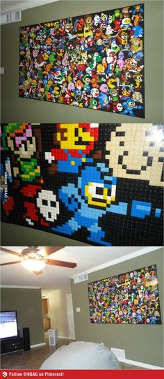 Awesome!! Video Game Classics on a lego wall! Love this only I would do a collage of the games/anime I grew up on:)