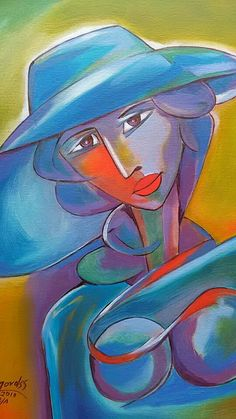 Mujer con Sombrero Azul de Azul Alfredo Mordss /oleo _canvas