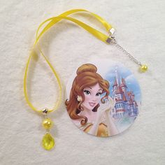 10 Belle - Beauty and the Beast Satin Ribbon Pearl Pendant Necklace Party Favors Slumber or Birthday Party Favors Princess Necklace by MichelleAndCompany on Etsy
