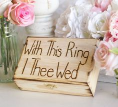 Rustic Ring Bearer Pillow Engraved Box With This by braggingbags
