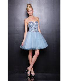 Light Blue Sequin Chiffon Beaded Mini and Sexy Prom Dress