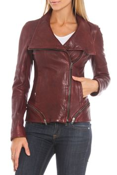 Soia & Kyo Flavia-N Leather Jacket in Bordeaux - Beyond the Rack