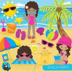 Beach party girls clipart commercial use by Prettygrafikdesign