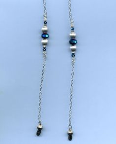 Sterling silver, Blue beads - Eyeglasses Chains, Straps, Cords, Beaded Necklaces