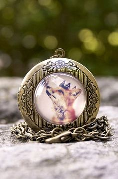Lovely Clusters - Beautiful Shops: The Little Fox Prince Locket, Antique Brass Locket Necklace
