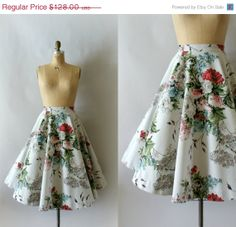 SALE 1950s Vintage Skirt  50s Cotton Floral by Sweetbeefinds, $96.00