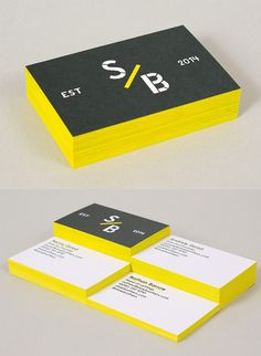 Minimalist Black And White Business Card Design With Bright Yellow Edge Painting