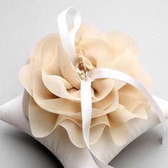 Wedding ring pillow, bridal ring pillow, flower ring pillow - Aria light beige on Etsy, $40.00