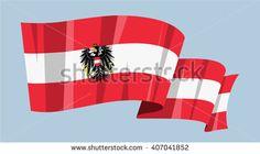 National waving flag vector editable banner ribbon country world Austria Europe coat of arms eagle emblem - stock vector