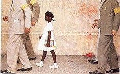 Norman Rockwell's portrayal of Ruby Bridges, who braved unruly crowds to become the first African American child to desegregate her school in New Orleans.