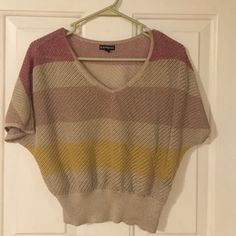 Sheer multi color top from Express Sheer multi color top from Express. Looks great with jeans or white shorts! Express Tops