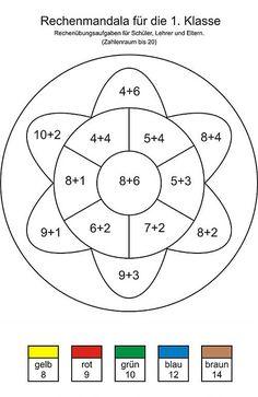 Rechenmandala Matheübungsaufgaben 1. Klasse