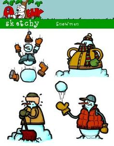 A Sketchy Guy freebie on TpT=Snowmen Holiday Christmas Winterl Clip art. Included 4 Color, 4 Grayscale, and 4 Black and White / Black LinedTransparent 12 Items Total. Each item has a transparent background.  Color Grayscale Black lined High quality 300dpi.