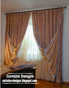 Luxury curtains for bedroom in luxurious designs, made of gold plated fabric for bedroom window, luxury curtains - luxury bedroom curtains - gold curtains fabric - bright curtains Bright Curtains, Gold Curtains, Bedroom Curtains, Curtain Designs For Bedroom, Princess Curtains, Classic Curtains, Dorm Bedding, Bedding Sets, Luxury Curtains