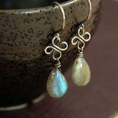 Labradorite Clover Earrings in Oxidized Sterling by aubepine, $41.00