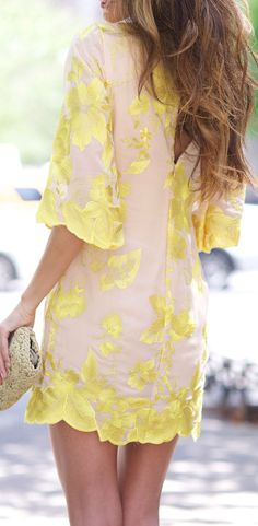 Adorable mini dress. Yellow florals. @CKstylecurator / {A+| Style & Fashion}