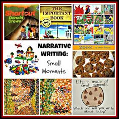 "Teaching Kids to Write About ""Small Moments"" in Their Lives.  This is a great post with lots of neat ideas!"