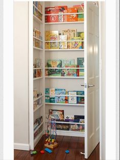 Behind the door bookshelf...not sure all of our books would fit, but I like the idea to open up some more space