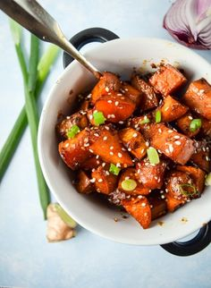 Teriyaki-Glazed Sweet Potatoes | yupitsvegan.com. Oven-roasted sweet potatoes in a sweet and savory teriyaki glaze.