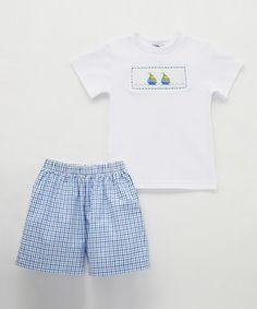 Blue Sailboat Smocked Shorts & tee - Infant, Toddler & Boys #zulily #zulilyfinds