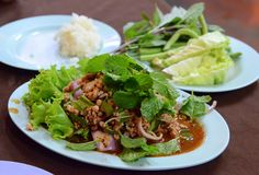 Larb thai salad..either with pork, beef or duck ...great spicy salad...always with sticky rice