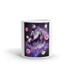 Outer Space Cat Riding Unicorn - Donut Mug Ice Cream Taco, Eating Ice Cream, Cat Riding Unicorn, Bacon Taco, Unicorn Milkshake, Unicorn Donut, Cow Cookies, Space Dragon