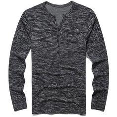 2017 New Tee Tops Long Sleeve Stylish Slim Fit - New Men Henley Shirt