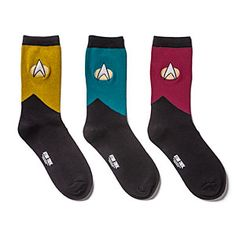Star Trek TNG Men's Socks 3-pack. I think these will have to be part of Jason's anniversary present this year! :p