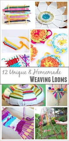 12 Unique Homemade Weaving Looms for Kids: All kinds of cool ways to weave using things like paper plates, popsicle sticks, sticks, and more! ~ http://BuggyandBuddy.com