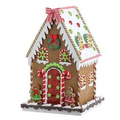 "RAZ Gingerbread House Multicolored Made of Polyethylene Measures X X For Decorative Use Only RAZ Exclusive RAZ ""Cookie Confections"" Collection (Additional photo Christmas Gingerbread House, Gingerbread Man, Christmas Home, Christmas Crafts, Xmas, Christmas Trees, Halloween Decorations, Christmas Decorations, Candy House"
