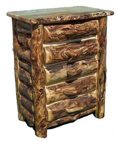 Burl Aspen Chest of Drawers with Half Log - 5 Drawer - Item # COD05423 - Available in 3 or 4 Drawer - Matching Dressers Available