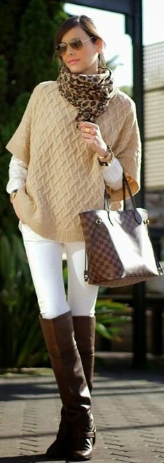 Fall outfit neutral poncho street styles