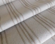 Farmhouse Fabric By Yard Grain Sack Continuous Cut Upholstery Weight Feedsack Striped Blue or Red or Tan Ticking Fabric 54 inches wide Farmhouse Style Curtains, Farmhouse Fabric, Sweet Annie, Ticking Fabric, Country Living Magazine, Grain Sack, Feed Sacks, Beige Background, Striped Fabrics