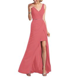 Description - Alfred Angelo Style 7338L - Full length bridesmaid dress - Sleeveless, v neckline and back - Natural waist with beaded trim - Split-front draped skirt with short underskirt - Chiffon wit